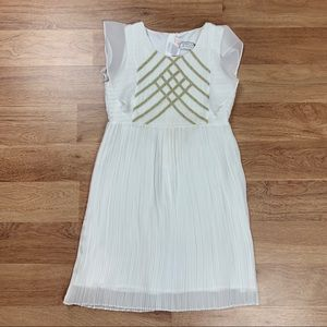 Billieblush Girls White Pleated Crepe Dress
